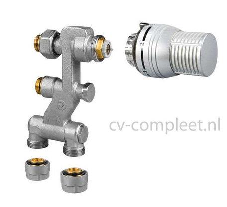 Jaga Pro Ventiel M24 inclusief thermostaatknop kleur Zilver en klemkoppelingen