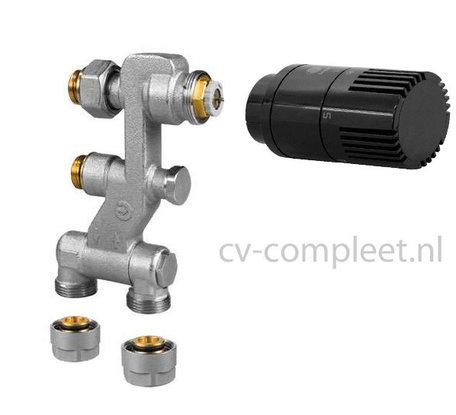Jaga Pro Ventiel M24 inclusief thermostaatknop kleur Zwart en klemkoppelingen