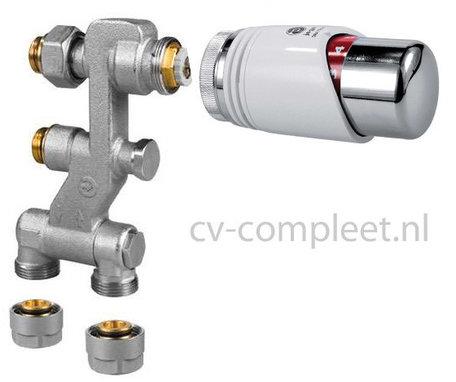 Jaga Pro Ventiel M24 inclusief thermostaatknop kleur Chroom en klemkoppelingen