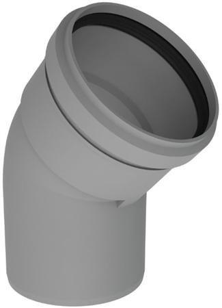 PP kunststof rookgasafvoer bocht 80 mm 45 graden