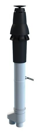 Skyline aluminium rookgasafvoer dakdoorvoer met spruitstuk 80/80 mm zwart