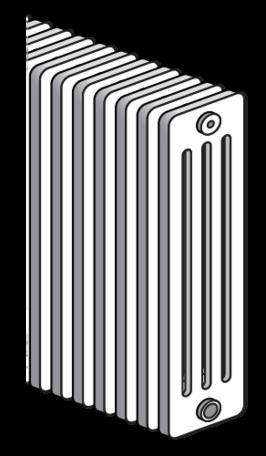 Radson Delta H 400 hoog x1300 breed x 139 mm diep 4 kolom (1518 watt) 26 elementen