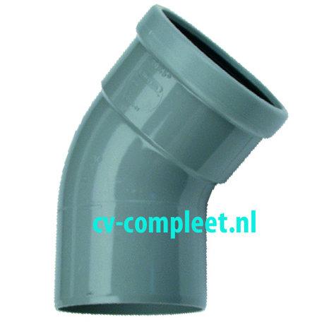 PVC bocht 125 mm 45¡ manchet mof/spie
