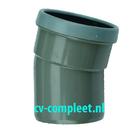 PVC bocht 250 mm 15¡ kort - manchet mof/spie