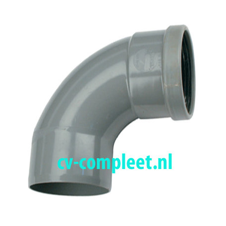 PVC bocht 200 mm 90¡ manchet mof/spie