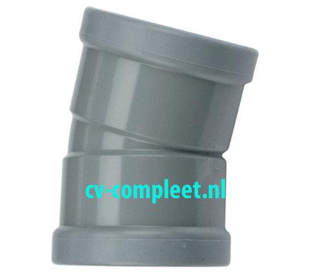PVC bocht 250 mm kort 15¡ manchet 2 x mof