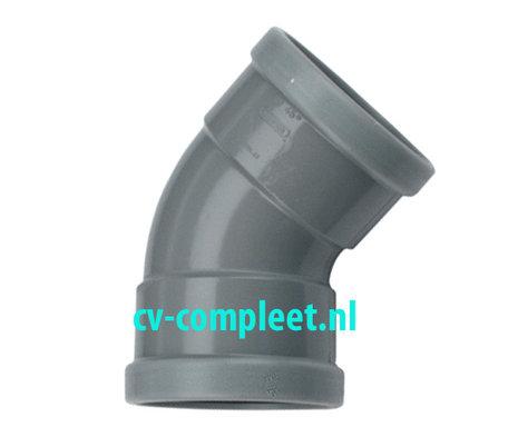 PVC bocht 125 mm 45¡ manchet 2 x mof