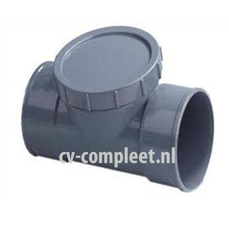 PVC Ontstopping T-Stuk met schroefdeksel - 110 mm 2 x mof