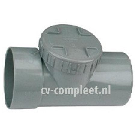 PVC Ontstopping T-Stuk met schroefdeksel - 125 mm 1 x mof/ 1 x spie