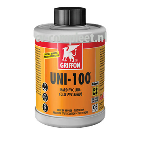 Uni-100 pvc lijm met kiwa keur, bus ‡ 500 CC