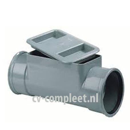 PVC Ontstoppingstuk met klemdeksel - 125 mm 2 x mof manchet verbinding