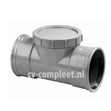 PVC Ontstoppingstuk met schroefdeksel - 160 mm 2 x mof manchet verbinding
