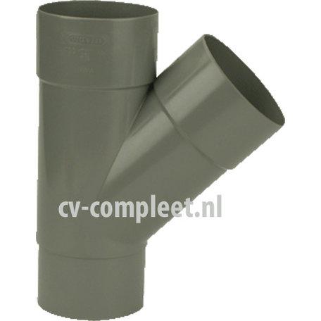 PVC Hemelwaterafvoer T stuk 100 mm 45 GR mof/spie verjongd (spie past in buis)