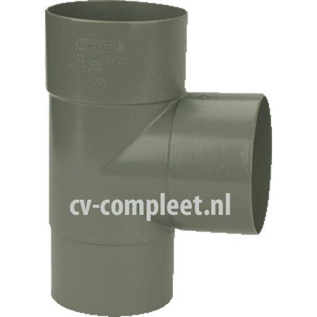 PVC Hemelwaterafvoer T stuk 80 mm 90 GR mof/spie verjongd (spie past in buis)