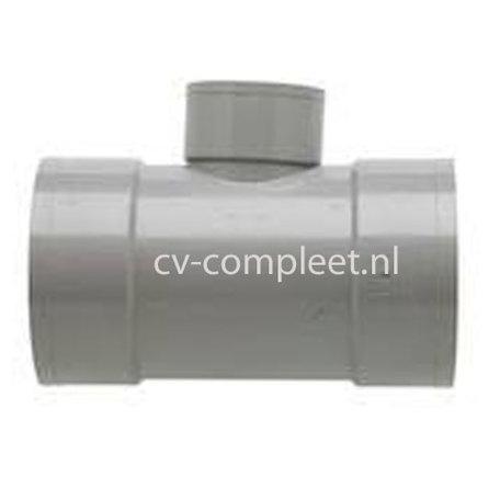 PVC T stuk verlopend 90¡ 3 x lijm mof 125 x 50 x 125 mm