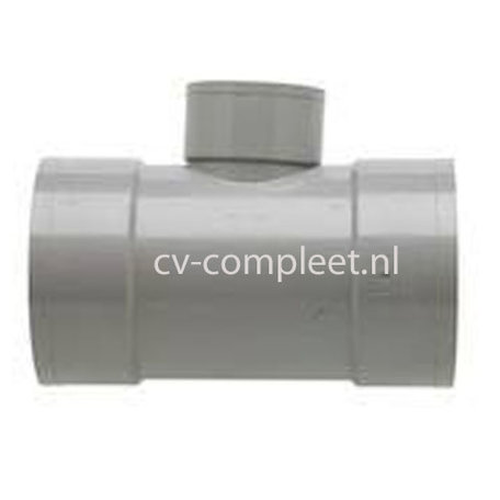 PVC T stuk verlopend 90¡ 3 x lijm mof 125 x 110 x 125 mm