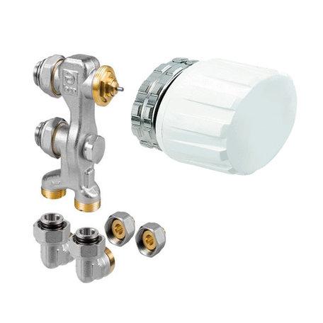 Jaga aansluitset ventiel M24 inclusief handbediend knop kleur Wit en klemkoppelingen
