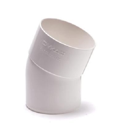 PVC Hemelwaterafvoer bocht 80 mm 22¡ WIT mof/spie verjongd (M/VS)
