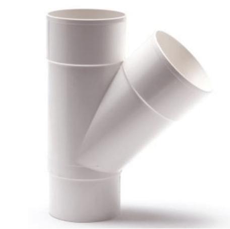 PVC Hemelwaterafvoer T stuk 80 mm 45¡ Wit mof/spie verjongd (spie past in buis)