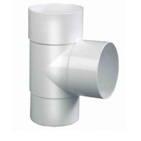 PVC Hemelwaterafvoer T stuk 80 mm 90¡ Wit mof/spie verjongd (spie past in buis)