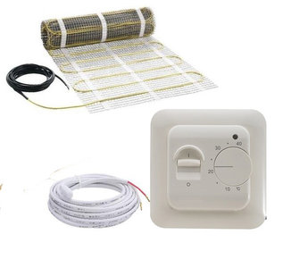 Set elektrische vloerverwarming 4,8 M2  met inbouw thermostaat 672 watt (dikte 4 mm)