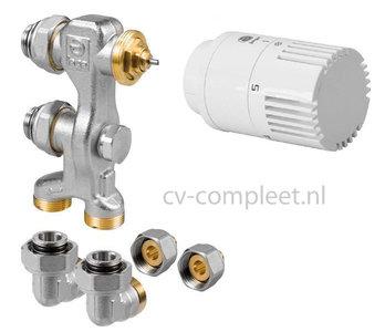 Jaga Pro Ventiel M24 inclusief thermostaatknop kleur Wit en klemkoppelingen