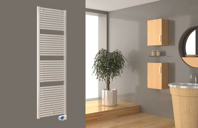 Vloerverwarming Badkamer Elektrisch : Drl e comfort claudia elektrische badkamer radiator 1411 x 500